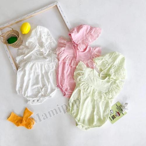 Baby Big Lace Romper Baby Cotton Short Sleeve One Piece Creeper with Hat