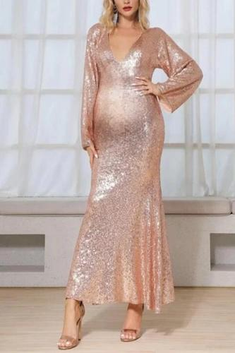 Maternity Fashion Long Sleeve V-Neck Bare Back Paillette Dress