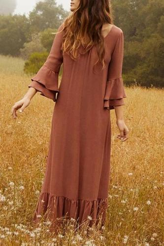 Maternity Pure Color Round Collar Horn Sleeve Dress