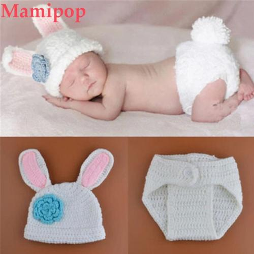 New Styles Baby Rabbit Costume Girl Flower Hat Newborn Crochet Outfits