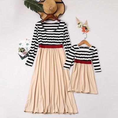 Mom Girl Round Neck Striped Splicing Matching Dress