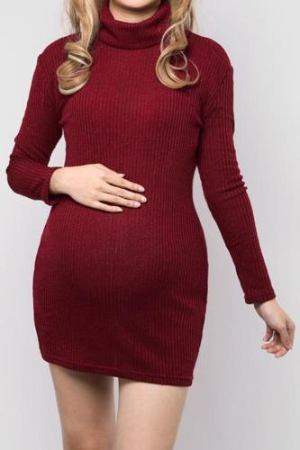 Maternity Winter Knitted Turtleneck Long Sleeve Loose Pullover Sweater Dress