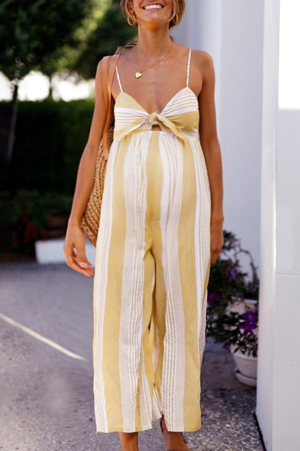 Maternity Sexy Striped Halter Jumpsuit