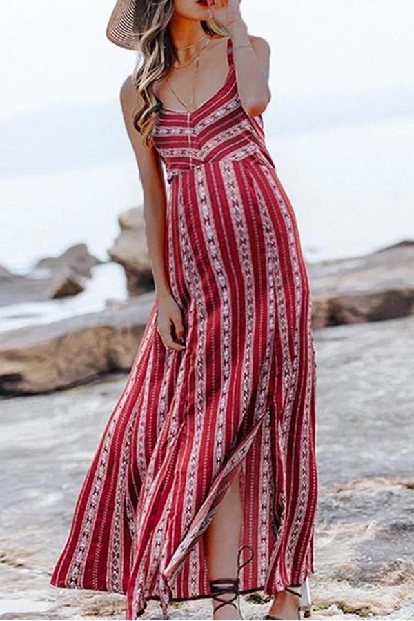 Maternity Bohemian Printed Sling Halter Dresses