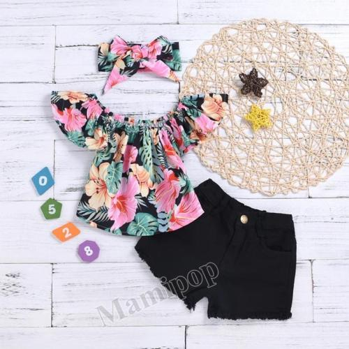 Children's Clothing Girls Black Shorts and print flower pattern tops set