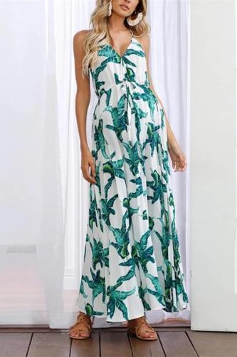 Maternity Bohemian Sling Print Dress