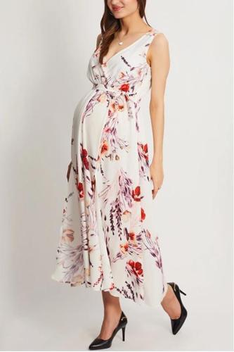 Maternity Printed Chiffon Boho Holiday Beach Slit Dress