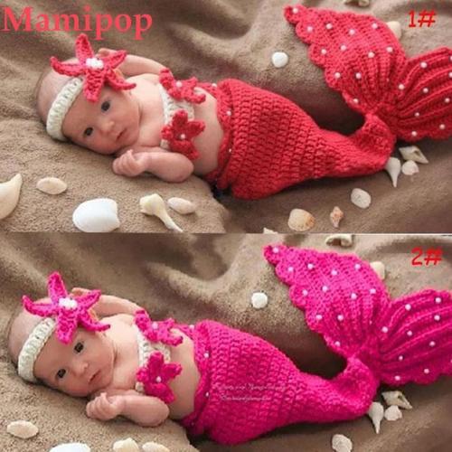 Baby Girls Starfish Mermaid Photography Set