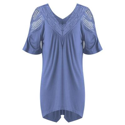 Casual Loose Off Shoulder Solid Short Sleeve Lace  Tops