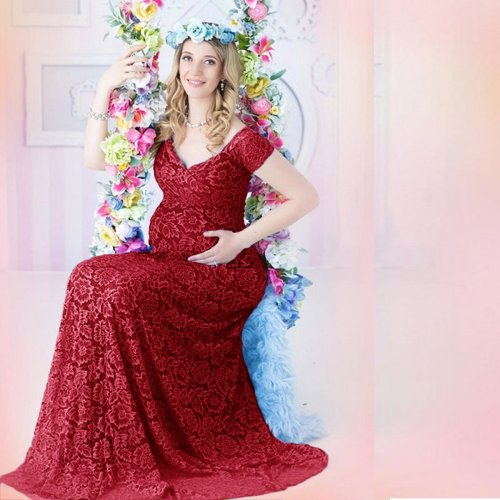 Lace Pregnant Woman Trailing Short Sleeve Dress Photography Short Sleeve Dress