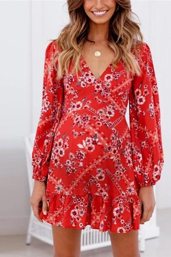 Maternity Printed V-Neck Cropped Sleeve Chiffon Dress