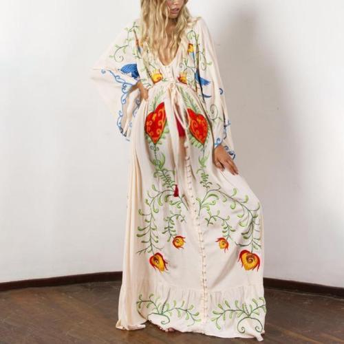 Maternity Elegant V-neck Loose Embroidered Printed Lace Dress