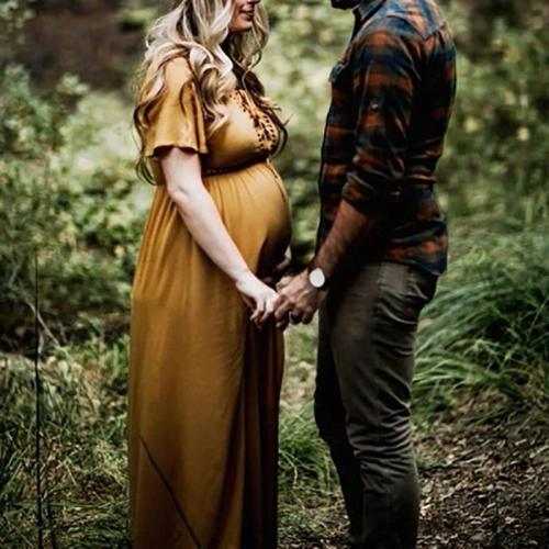 Maternity V Neck  Pure Colour Splicing Dress