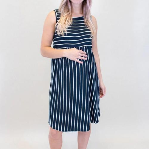 Maternity Casual Round Neck Stripe Dress