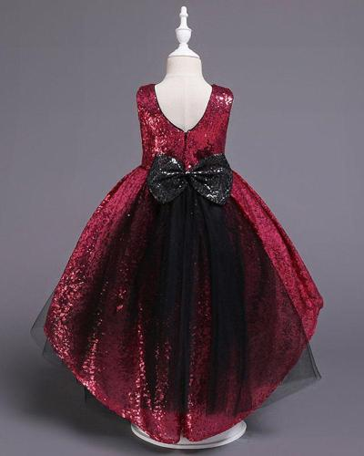 Solid Color Tail Sequined Evening Dress