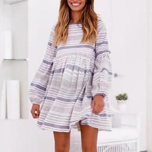 Maternity Round Neck Long Sleeve Stripe Dress