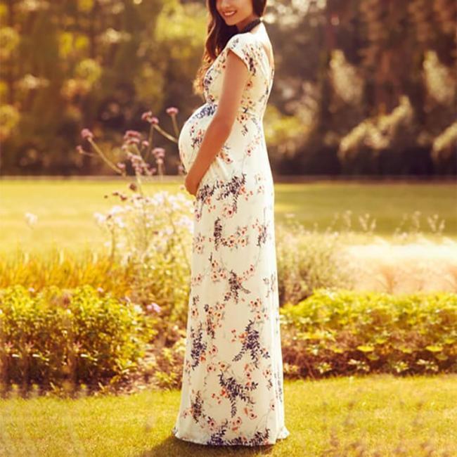 Maternity Elegant V Neck Bare Back Long Dress