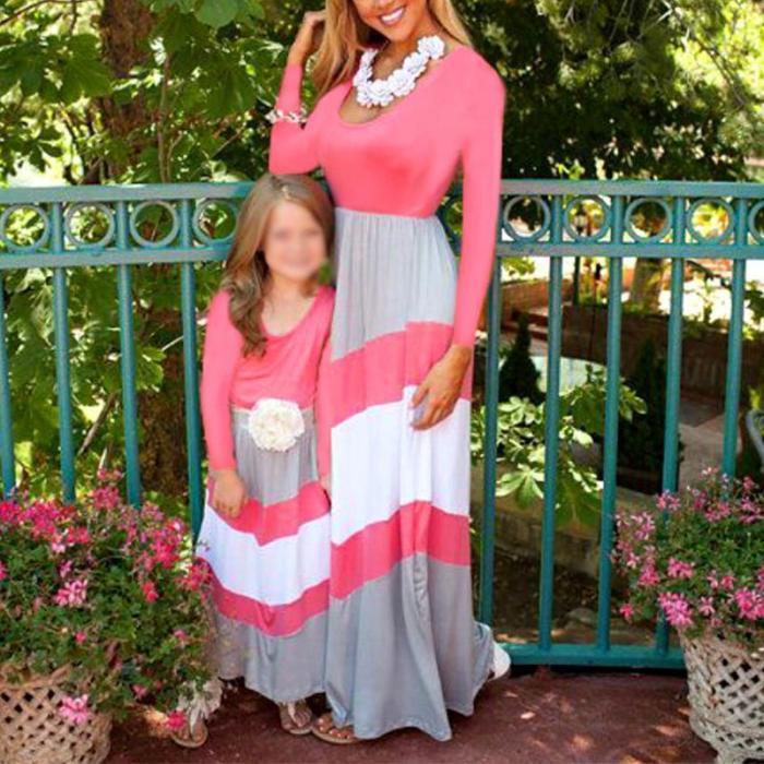 Parent-child Colouring Striped Loose Dress