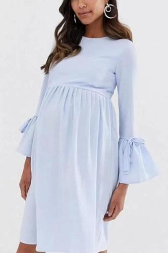 Maternity Casual Round Neck Long Sleeve Plain Dress