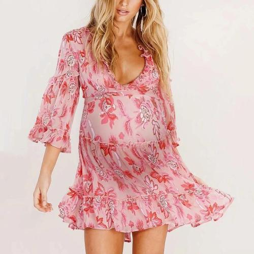 Maternity Fashion Dark V Print Lace Back Cross Tie Chiffon Dress