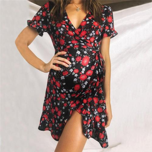 Maternity Fashion V-neck Floral Print Lace Short Sleeve Dress