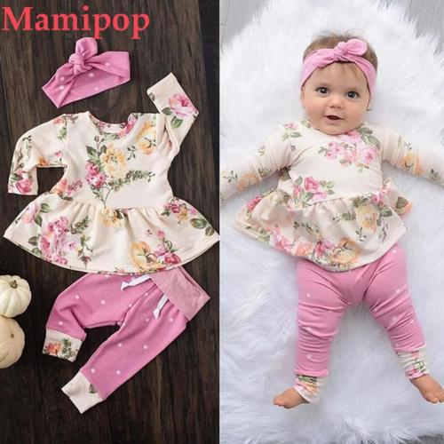 Korean version Baby Girl Clothes Set Long sleeve Floral O neck Tops Dress Pants Dot Leggings Outfits