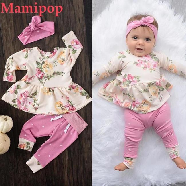 Korean version Baby Girl Clothes Set Long sleeve Floral O neck Tops Dress Pants Dot Leggings Outfits