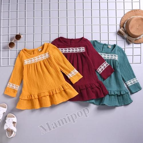 Baby Girls Dress Lace Solid Color Long Sleeve Ruched Ruffles Dress