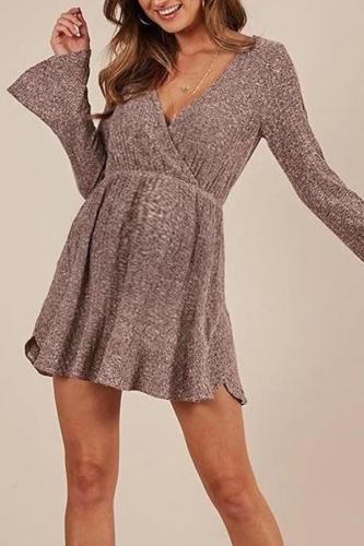 Fashion V-neck loose maternity mini dress