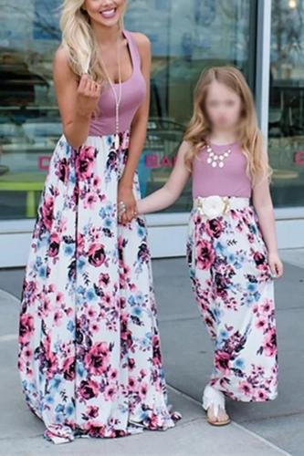 Parent-child Printed Colour Splicing Dress