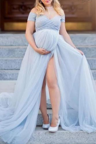 Maternity Off The Shoulder Short Sleeve Photoshoot Gowns
