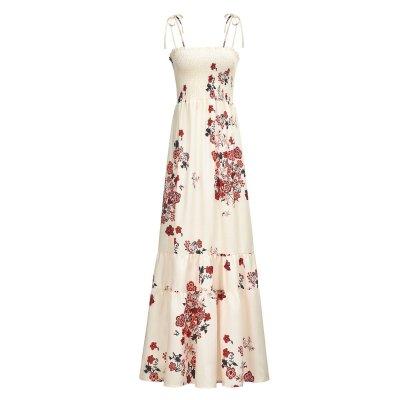 Elegant Bohemian Sling Floral Printed Vacation Dress