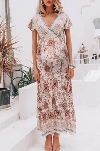 Maternity Sexy V-Neck Short-Sleeved Print Dress