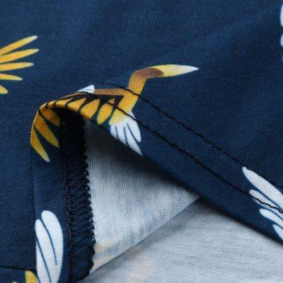 V-neck Long Sleeve Ruffles Printed Maternity Blouse