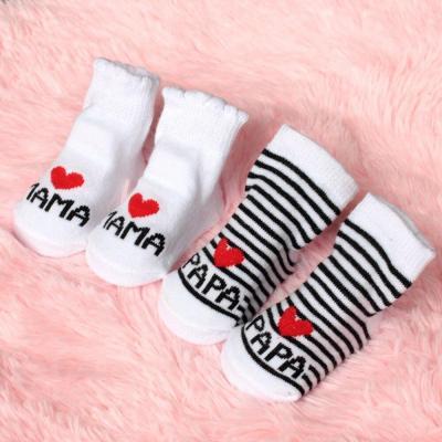 2020 New Lovely Soft Baby Socks Newborn Toddler Infant Kids Girls Boys Stripe Cotton Love Mama/Papa Socks
