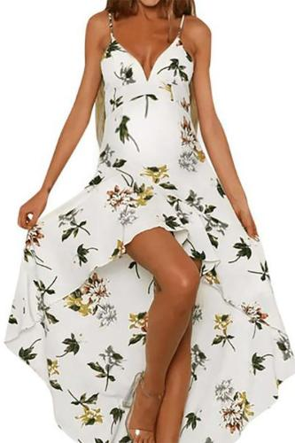 Sexy Maternity Printed Halter Sling Irregular Dress