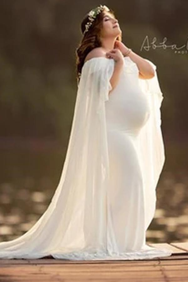Pregnant Women's Photo Cape Dress Mopping Gown Party Dress