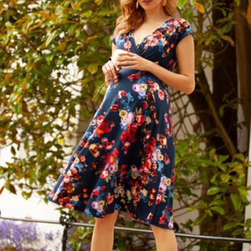 Maternity Cap Sleeve V-neck Floral Dress
