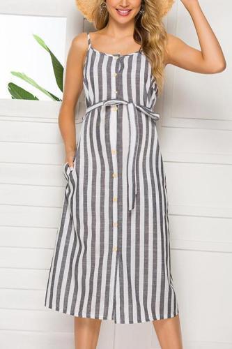 Maternity Spaghetti Strap Stripe Tie Casual Dress
