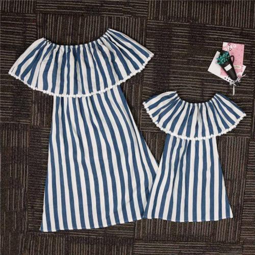 Mom Girl Striped Ruffle Matching Dress