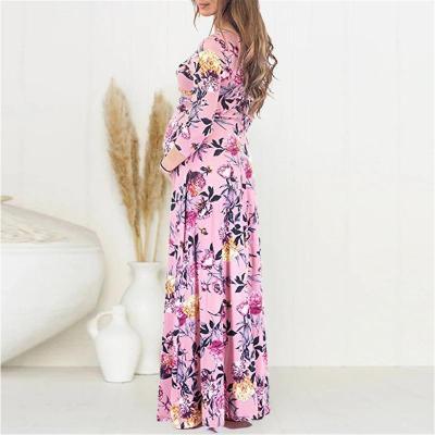 Maternity V Neck Printed Color  Half Sleeve Dress