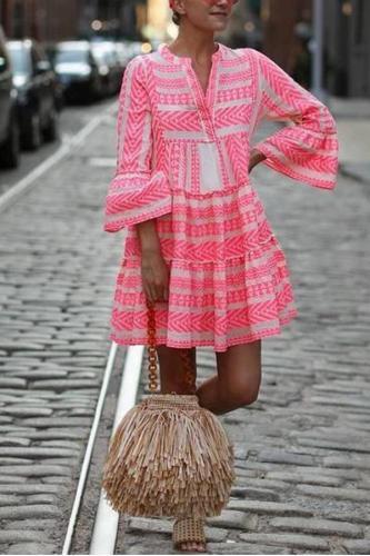 Maternity Bohemian V-Neck Print Casual Vacation Mini Dress
