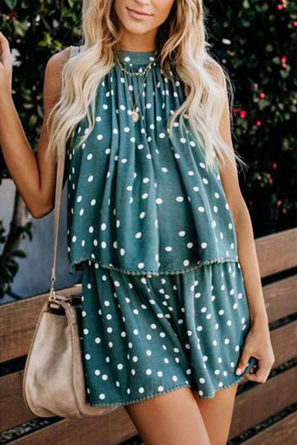 Maternity Sexy Polka Dot Off-Shoulder Belted Jumpsuits
