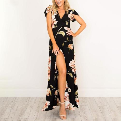 Maternity Deep V-Neck Printed Maxi Dress