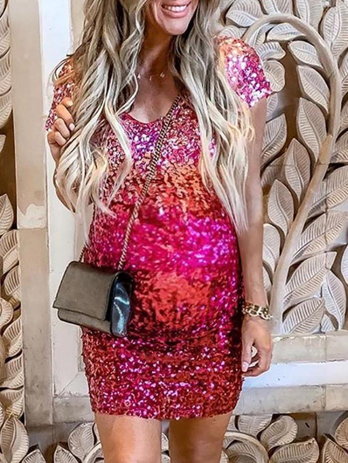 Maternity Elegant Casual Short Sleeve Dress