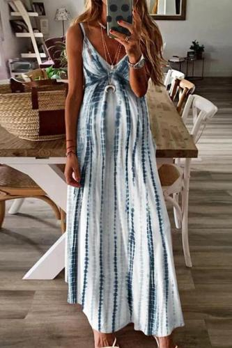Maternity V Neck Sleeveless Tie Dye Maxi Dress