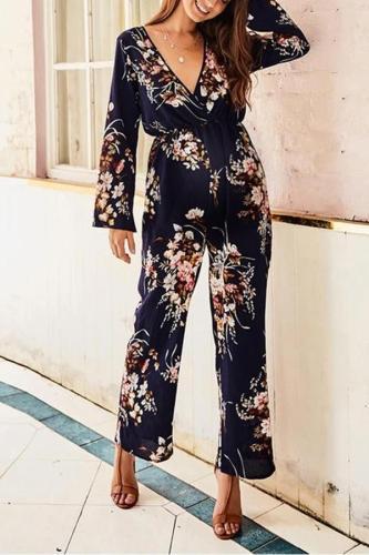 Maternity Sexy Slim Printed Long Sleeve Jumpsuit