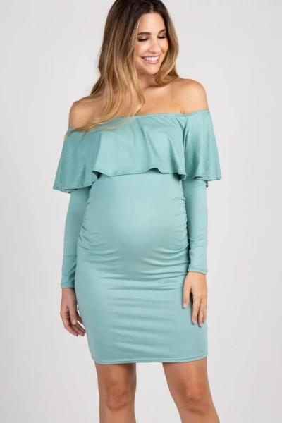 Autumn New  One Line Collar Long Sleeve Maternity Dress
