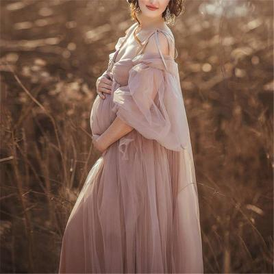 Sexy Solid Color Sling Chiffon Long Sleeves Maternity Dress