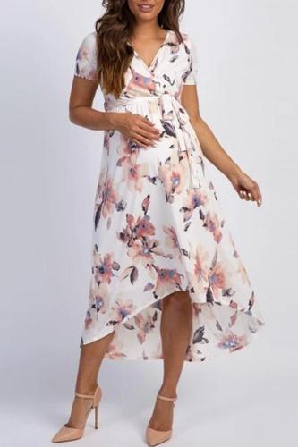 Materinty V Neck Short Sleeve Printed Dress